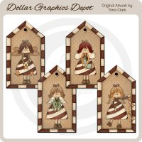 Candy Cane Angels - Tags