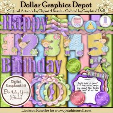 Birthday Years Scrap Kit - Girls