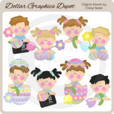 Sweet Easter Kids - Clip Art