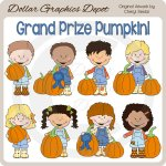 Grand Prize Pumpkin Kids - Clip Art