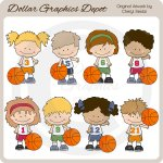 Basketball Kids - Clip Art