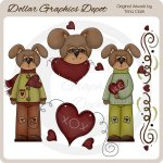 Valentine Puppies 1 - Clip Art