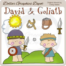 David and Goliath - Clip Art