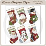 Whimsical Christmas Stockings Sheet Tags