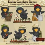 Garden Crows - Clip Art
