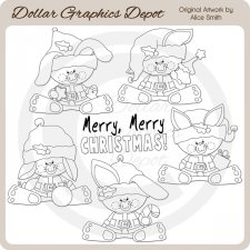Christmas Bunnies - Digital Stamps - *DGD Exclusive*