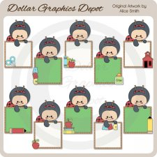 Ladybug School Frames - Clip Art - *DGD Exclusive*