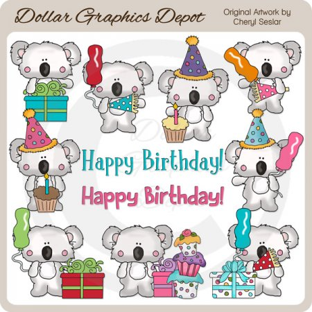 Little Koala - Birthday - Clip Art - *DGD Exclusive*