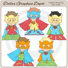 Superhero Boys - Clip Art