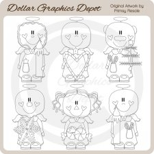 Christmas Angels 1 - Digital Stamps