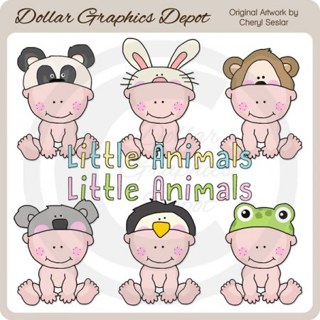 Animal Hat Babies 3 - Clip Art - *DGD Exclusive*