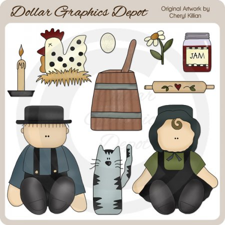 Amish Kids - Clip Art