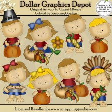 Thanksgiving Tots 1 - Clip Art