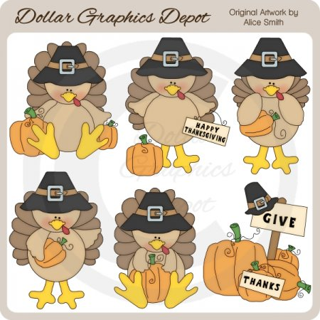 Give Thanks Turkeys - Clip Art - *DGD Exclusive*