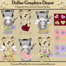 Little Valentine Critters - Clip Art
