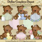 Tattered Teddies - Cute as a Button - Clip Art