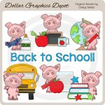 Piglet Goes To School - Clip Art