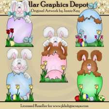 Easter Egg Bunnies - Clip Art