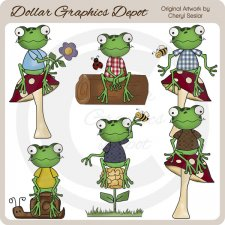 Woodland Frogs - Clip Art