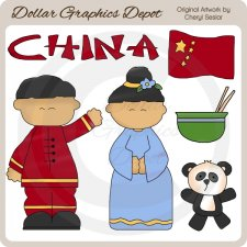 Chinese Kids - Clip Art