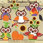 Autumn Owls - Clip Art