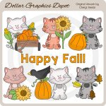Scruffy Cat - Autumn Days - Clip Art