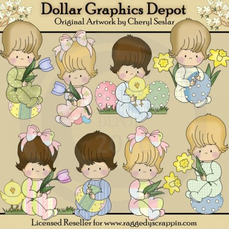 Baby Snuggles - Easter - Clip Art *DGD Exclusive*