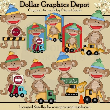 Silly Sock Monkeys - Love Trucks - Clip Art