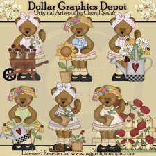 Bedilia Bear's Beautiful Blooms - Clip Art