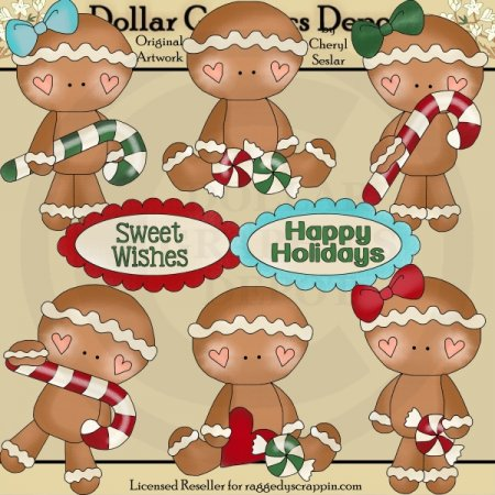 Little Gingers - Happy Holidays - Clip Art