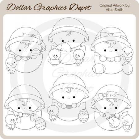 Baby Easter Eggs - Digital Stamps