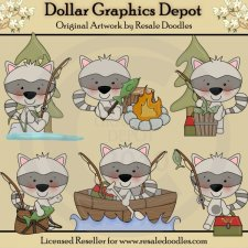 Little Fishing Raccoons - Clip Art