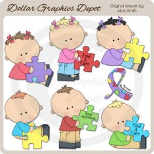 Autism Awareness Kids - Clip Art - *DCS Exclusive*