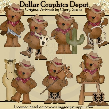 Tattered Teddies - Buckaroos - Clip Art