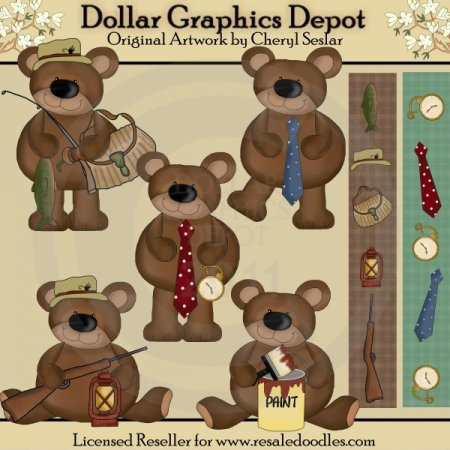 Father's Day Bears - Clip Art