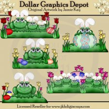 Hoppy Easter Frogs - Clip Art