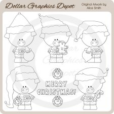 Christmas Piggies - Digital Stamps - *DCS Exclusive*