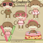 Pool Party Sock Monkeys - Girls - Clip Art