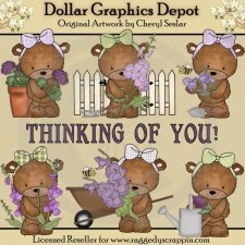 Bailey Bear Purple Flowers - Clip Art