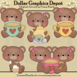 Tea Party Bears - Clip Art