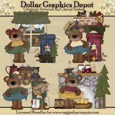 Cabin Bears - Clip Art - *DGD Exclusive*