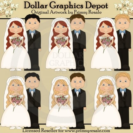 Wedding - Light Haired Brides - Clip Art