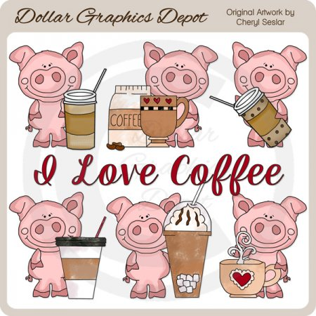Piglet Loves Coffee - Clip Art