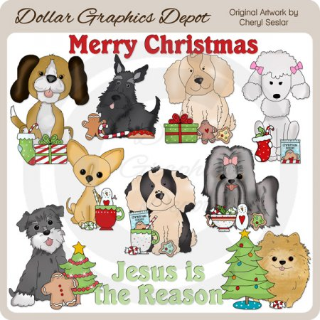 Christmas Puppies 1 - Clip Art - *DGD Exclusive*