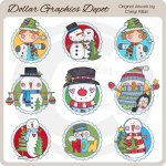 Snowman Scalloped Frames - Clip Art
