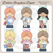 Stars and Stripes Girls - Clip Art
