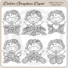 Floral Angels 1 - Digital Stamps