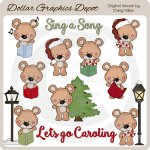 Baxter Bear Goes Caroling - Clip Art - *DGD Exclusive*