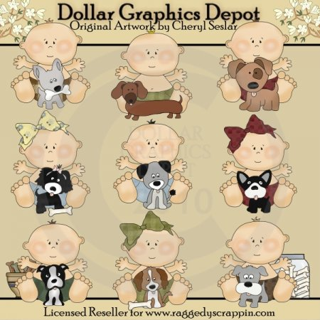 Baby's First Puppy - Clip Art - * DCS Exclusive*
