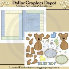 Baby Boy Bears - Paper Piecing & Card Set - Printables
